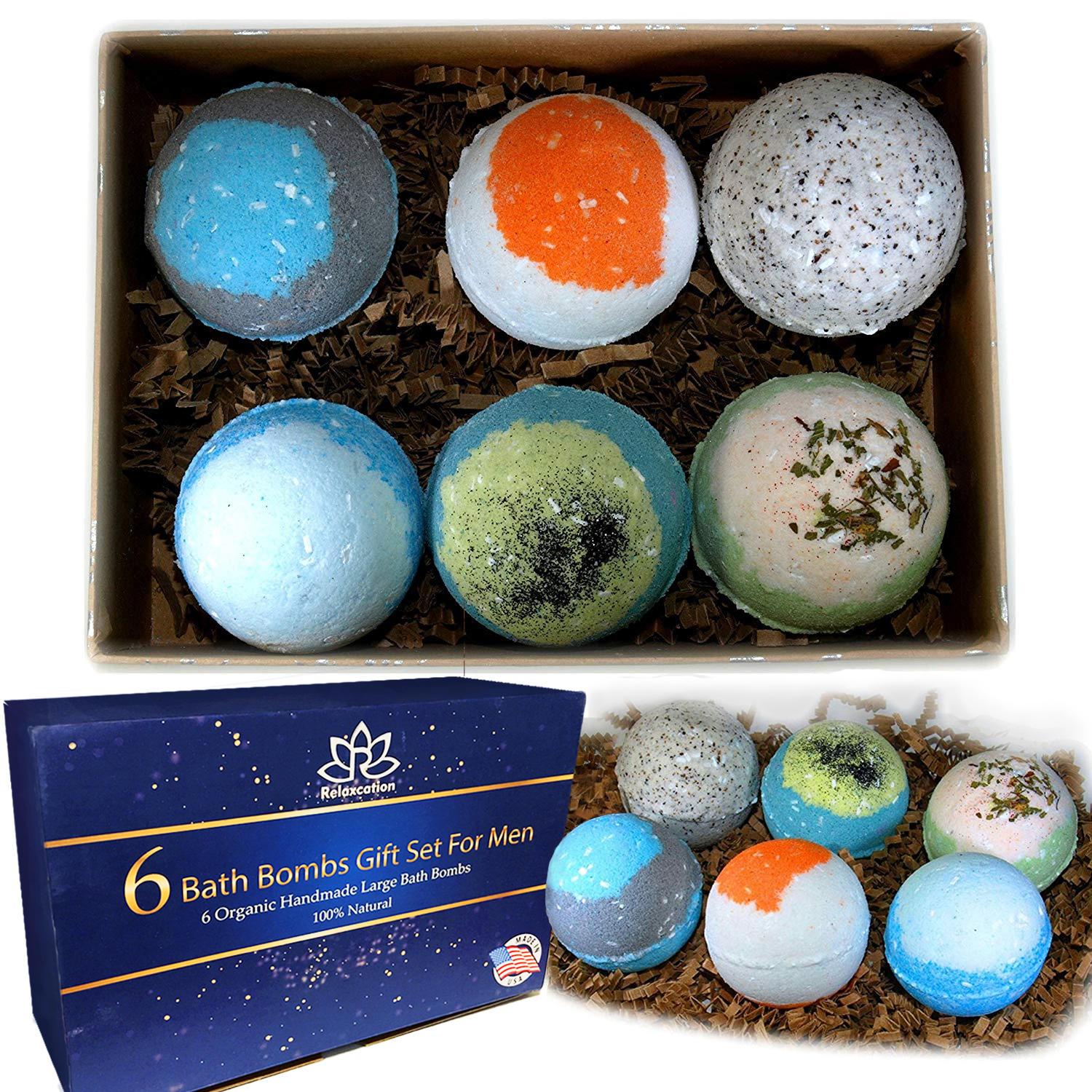 6 All Natural Bath Bombs Gift Set For Men 5 5 Oz Each Relaxcation