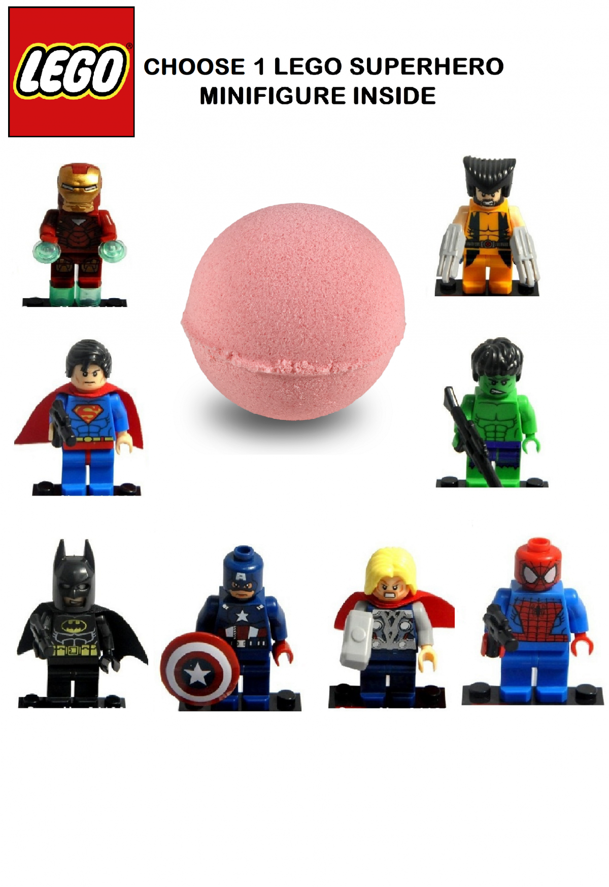 Bath Bomb For Kids With Surprise LEGO SUPERHERO TOY INSIDE – RELAXCATION